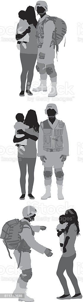 Military man with family vector art illustration