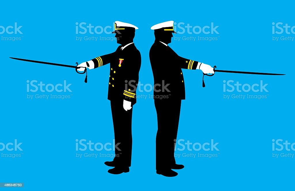 Military Men with Swords Silhouettes vector art illustration