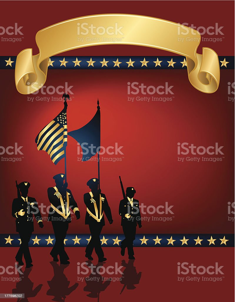Military Parade Soldiers, American Flag - Background royalty-free stock vector art