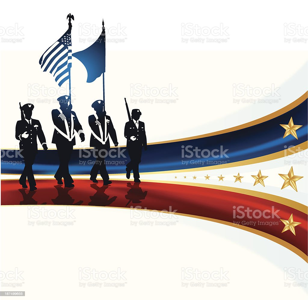 Military Parade Soldiers, American Flag - Background vector art illustration