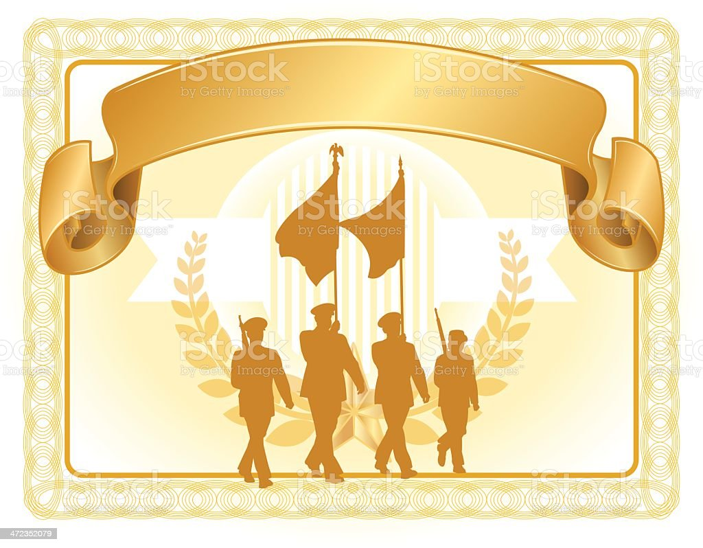 Military Parade Soldiers Certificate with Banner royalty-free stock vector art