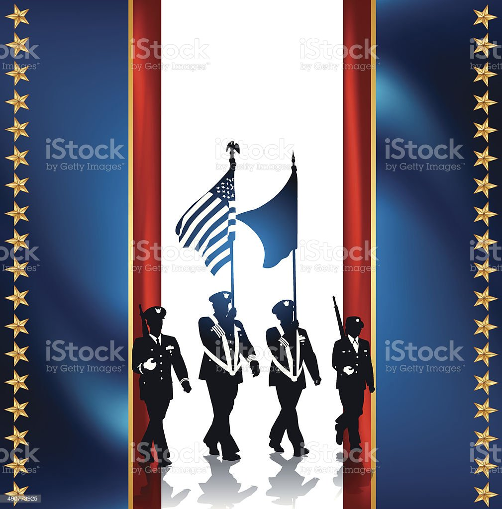 Military Parade Soldiers with American Flag - Armed Forces Background royalty-free stock vector art