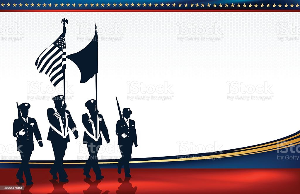 Military Parade Soldiers with American Flag Background vector art illustration