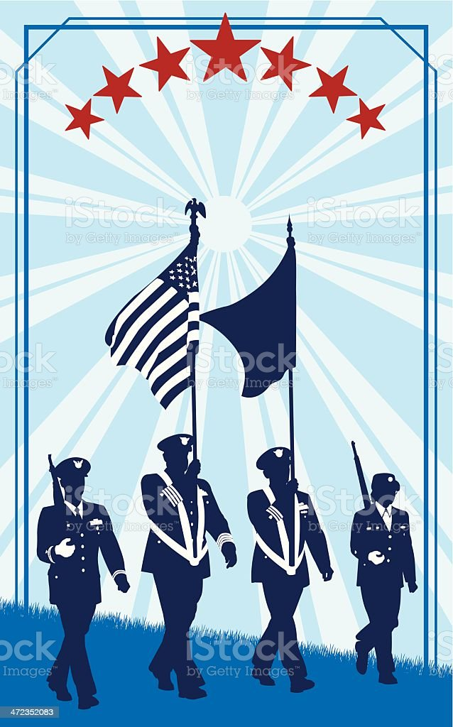 Military Parade Soldiers with American Flag - Retro royalty-free stock vector art