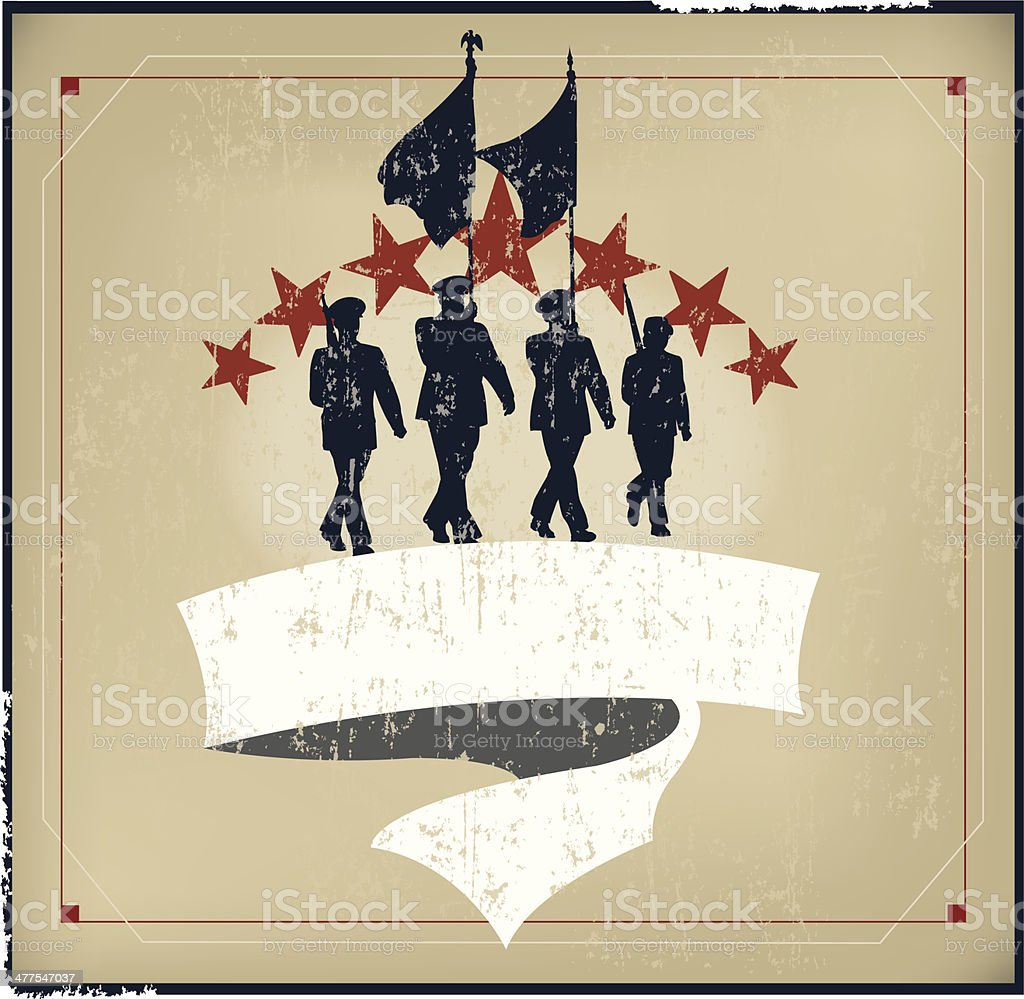 Military Parade Soldiers with Banner - Armed Forces Grunge Style vector art illustration