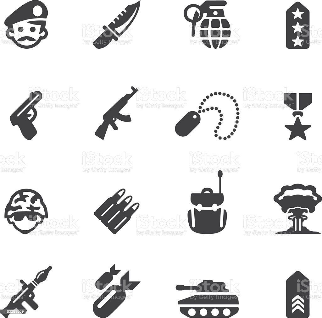 Military Silhouette icons 1 vector art illustration
