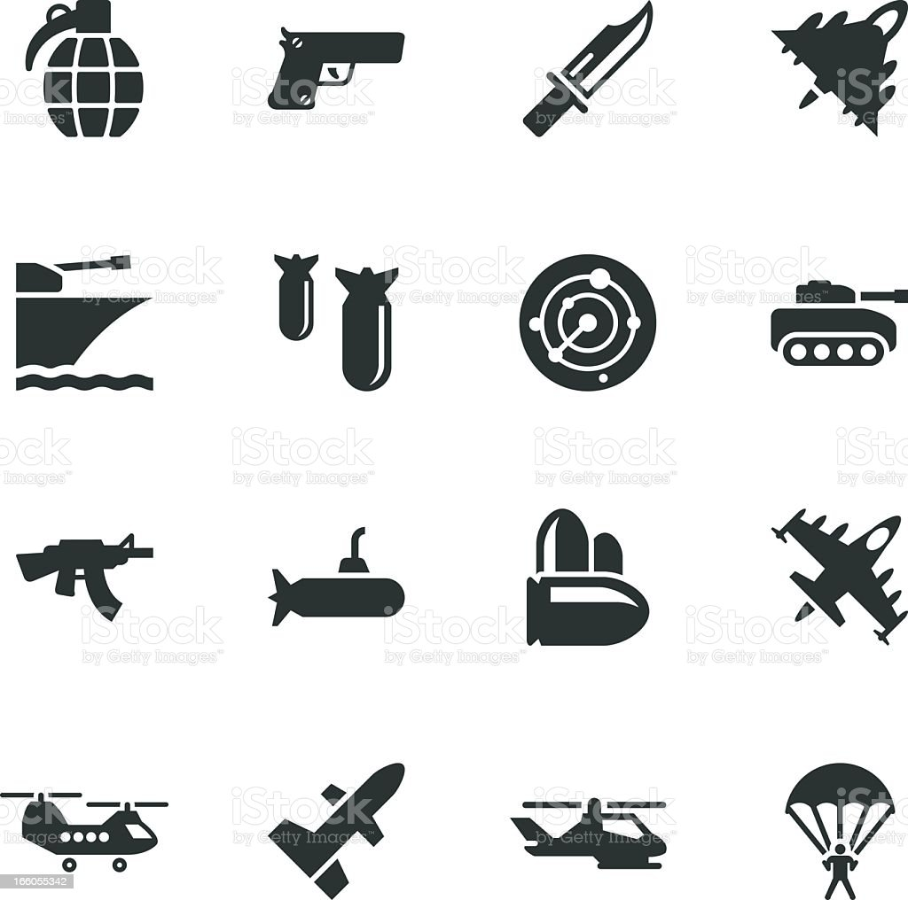 Military Silhouette Icons royalty-free stock vector art