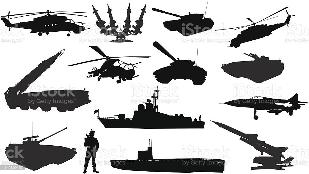 Military silhouettes  set royalty-free stock vector art