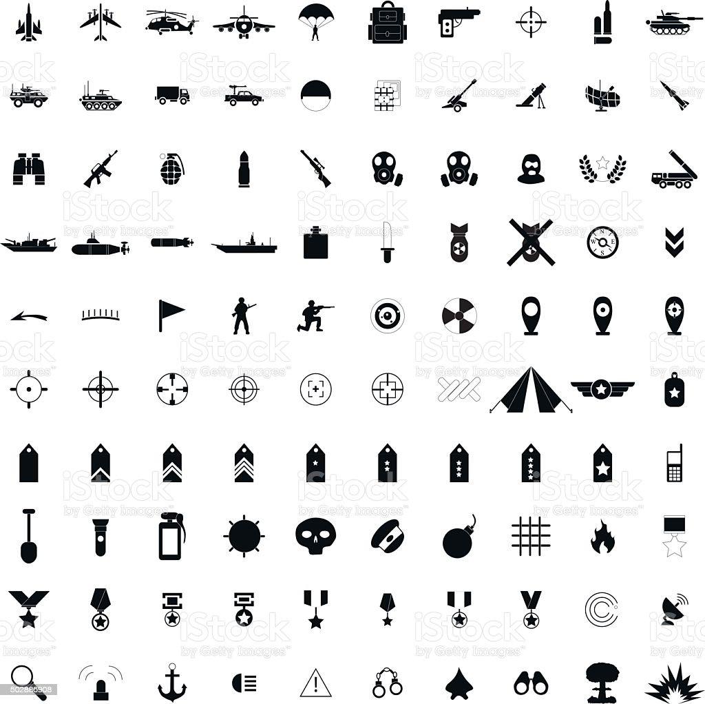 100 military simple black icons vector art illustration
