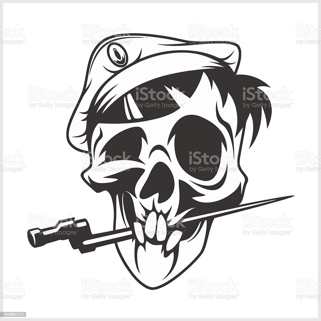 military skull bite a dagger vector art illustration