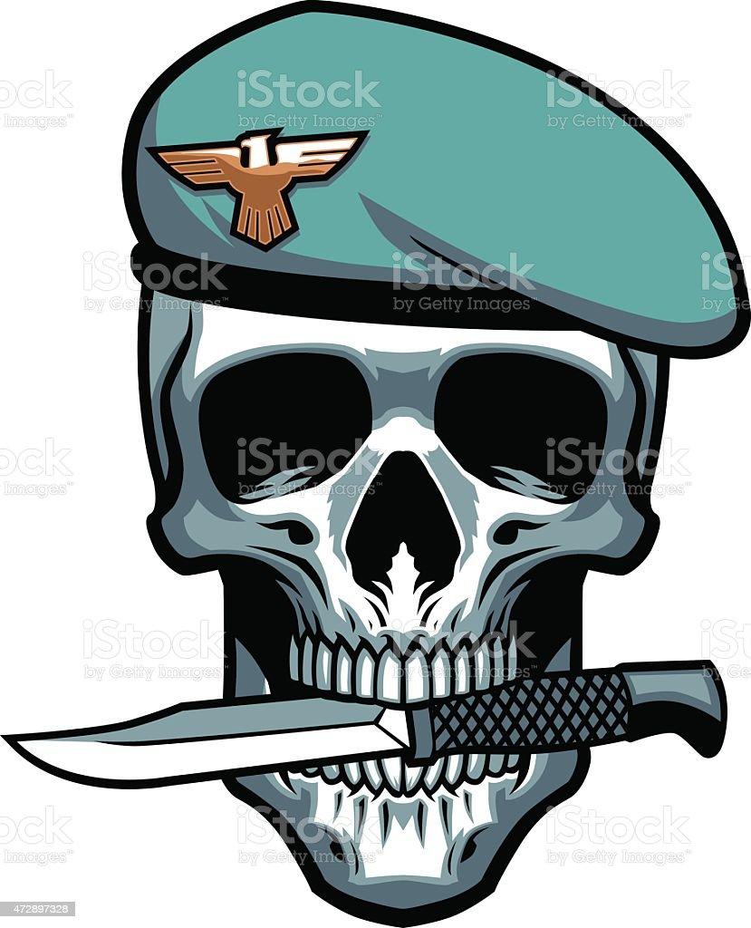 military skull bite the dagger vector art illustration