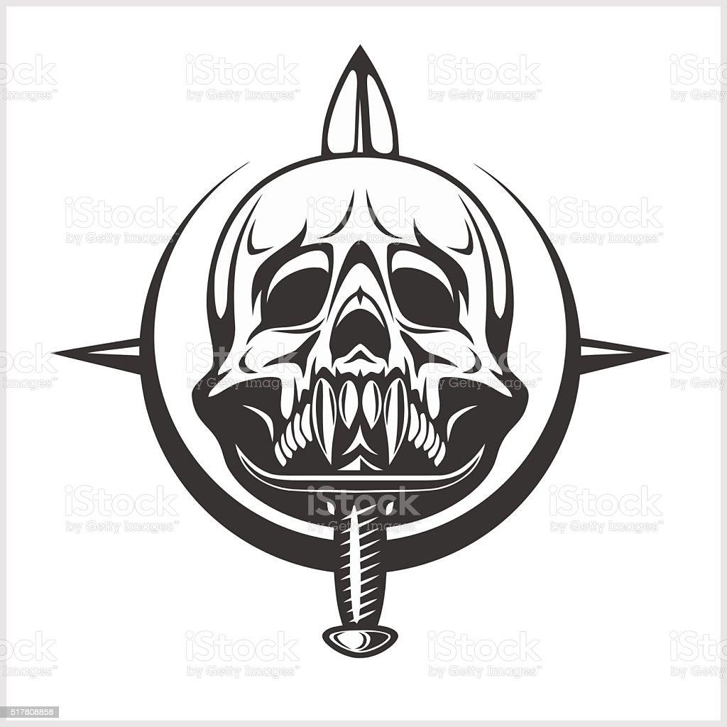 Military Skull - Chevron with daggers vector art illustration