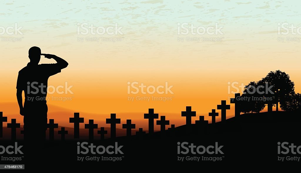 US Military Soldier Cemetery - Holiday Background vector art illustration