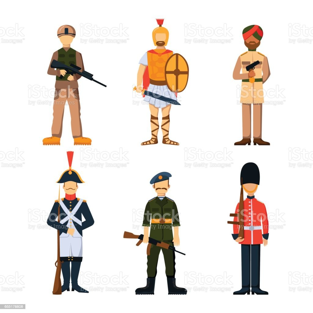 Military soldier character weapon symbols armor man silhouette forces design and american fighter ammunition navy camouflage sign vector illustration vector art illustration