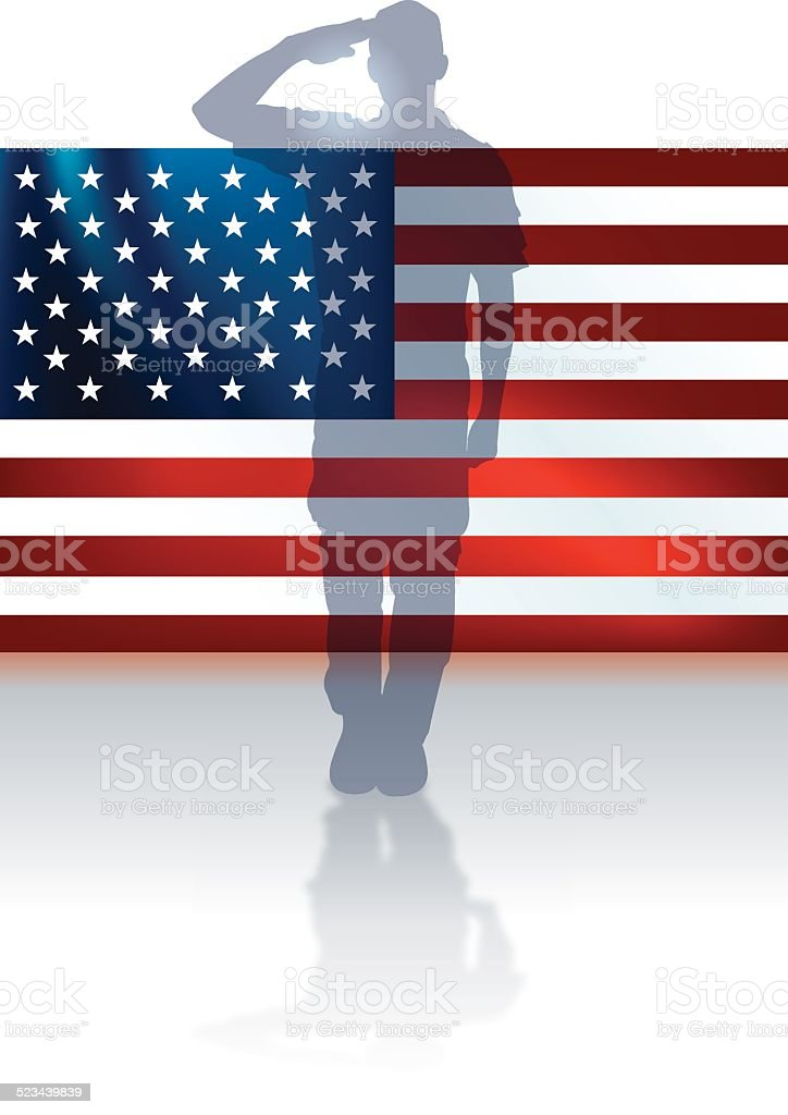 US Military Soldier or Boy Scout Flag Background vector art illustration