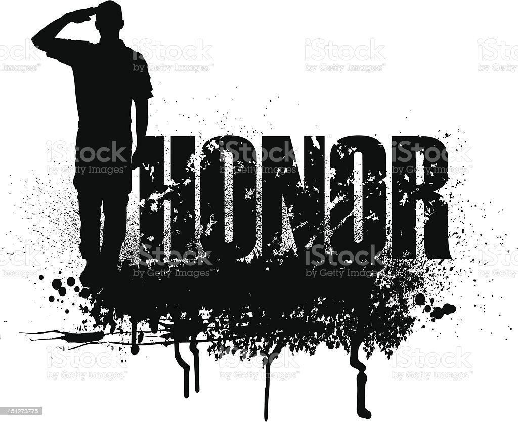 Military Soldier or Boy Scout Saluting - HONOR royalty-free stock vector art