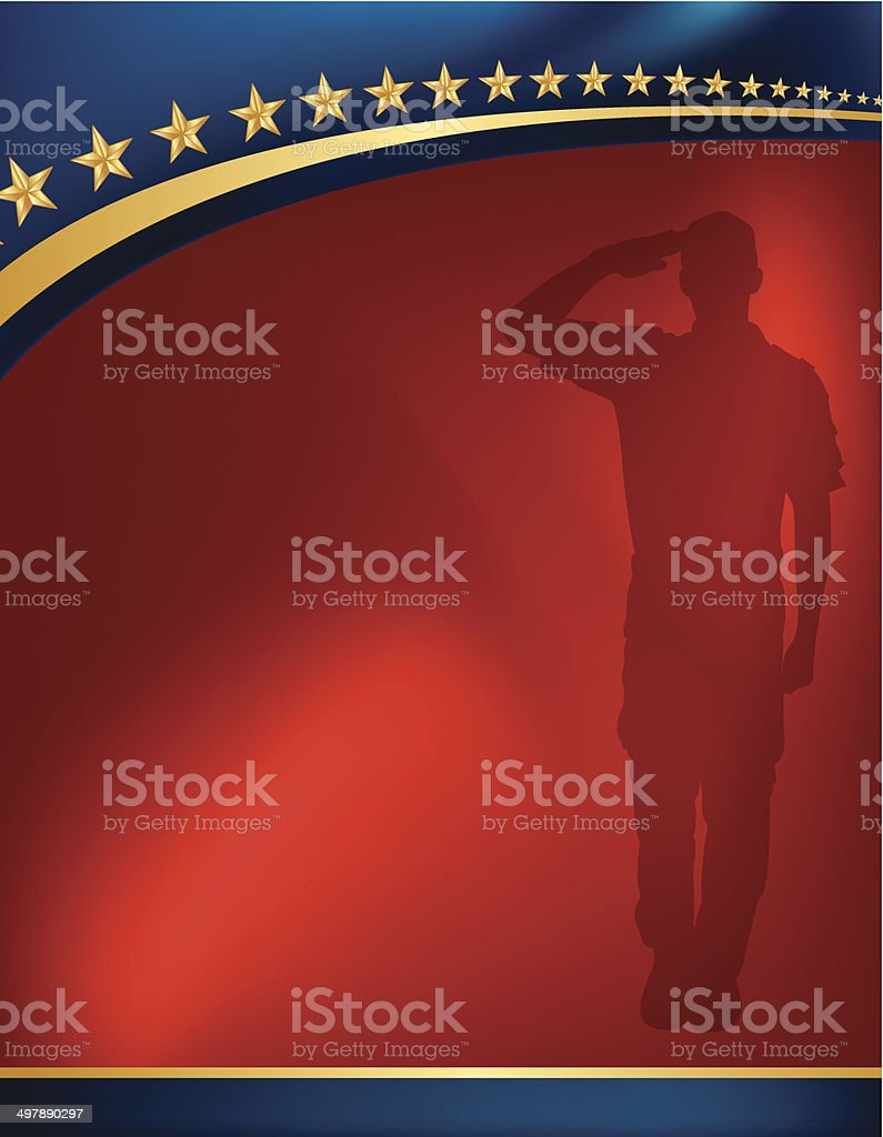 Military Soldier Salute Background - Patriotic vector art illustration