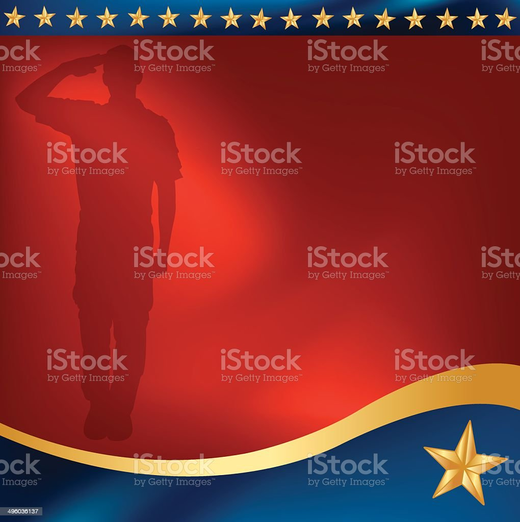 Military Soldier Salute Background vector art illustration