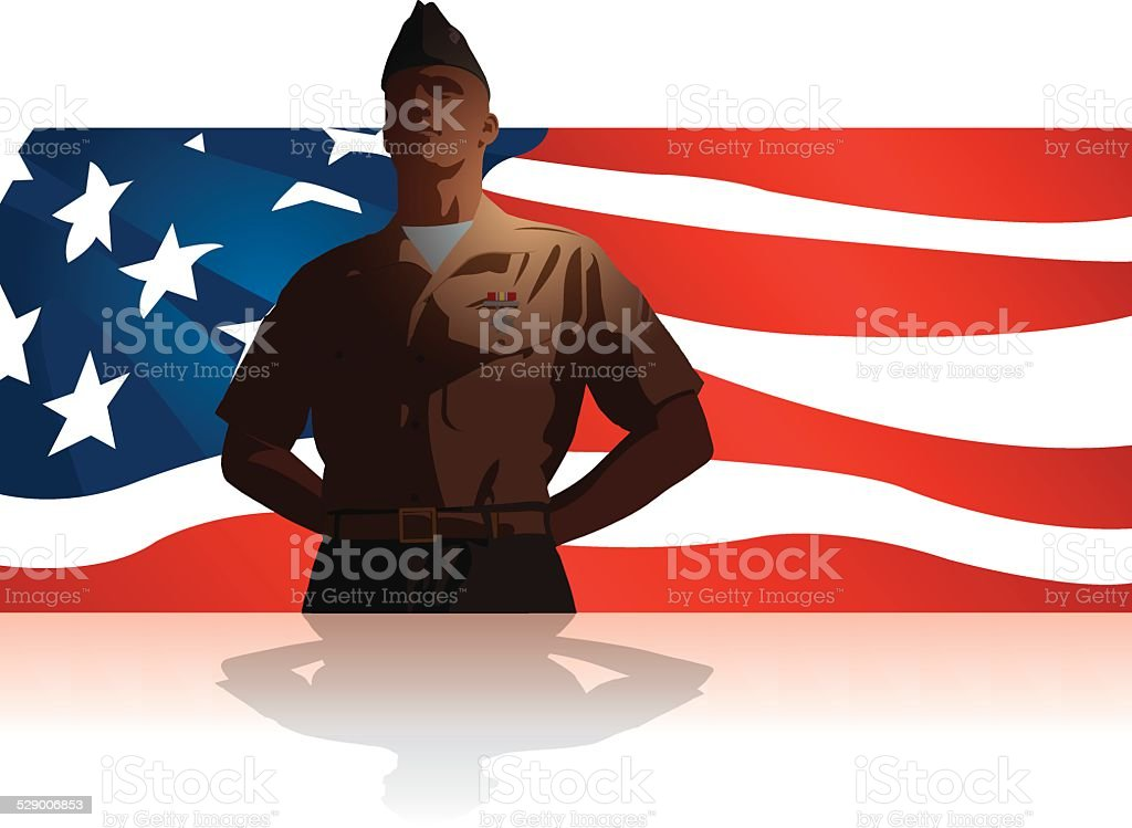 Military Soldier Salute US Flag Background vector art illustration