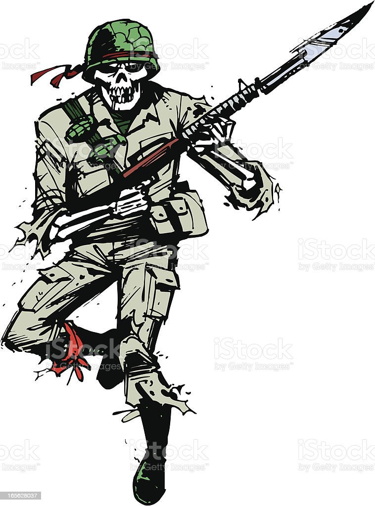 Military Soldier - Skeleton with Weapon royalty-free stock vector art