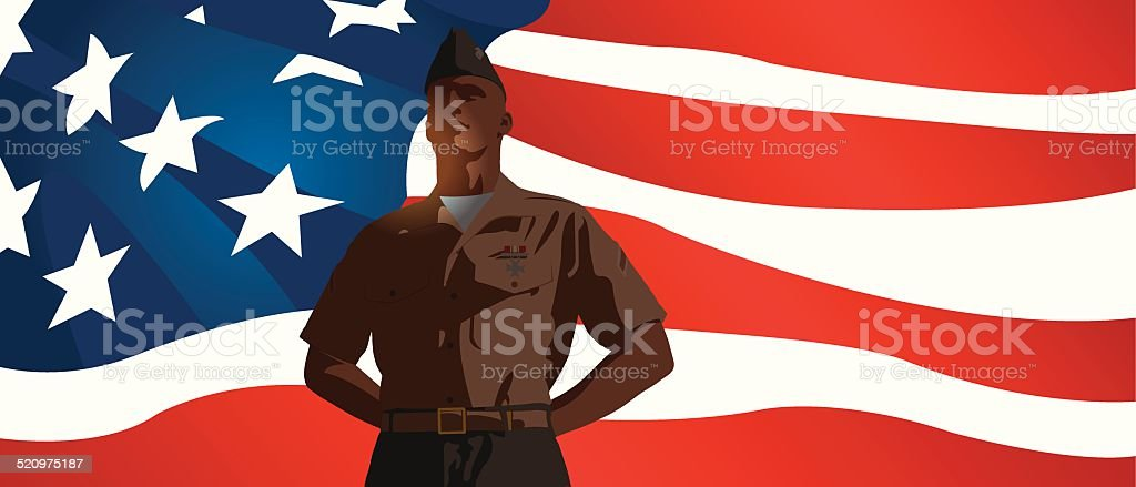 US Military Soldier Standing at Attention with Flag Background vector art illustration