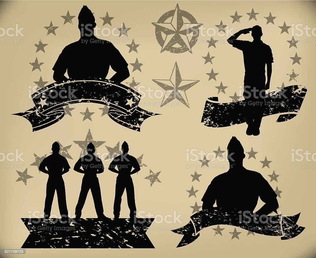 US Military Soldiers - Standing at Attention, Salute Banners vector art illustration
