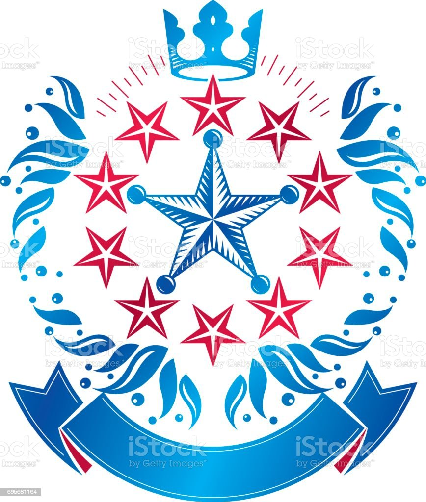 Military Star emblem, victory award symbol created using imperial crown and floral ornament.  Heraldic Coat of Arms decorative isolated vector illustration. vector art illustration