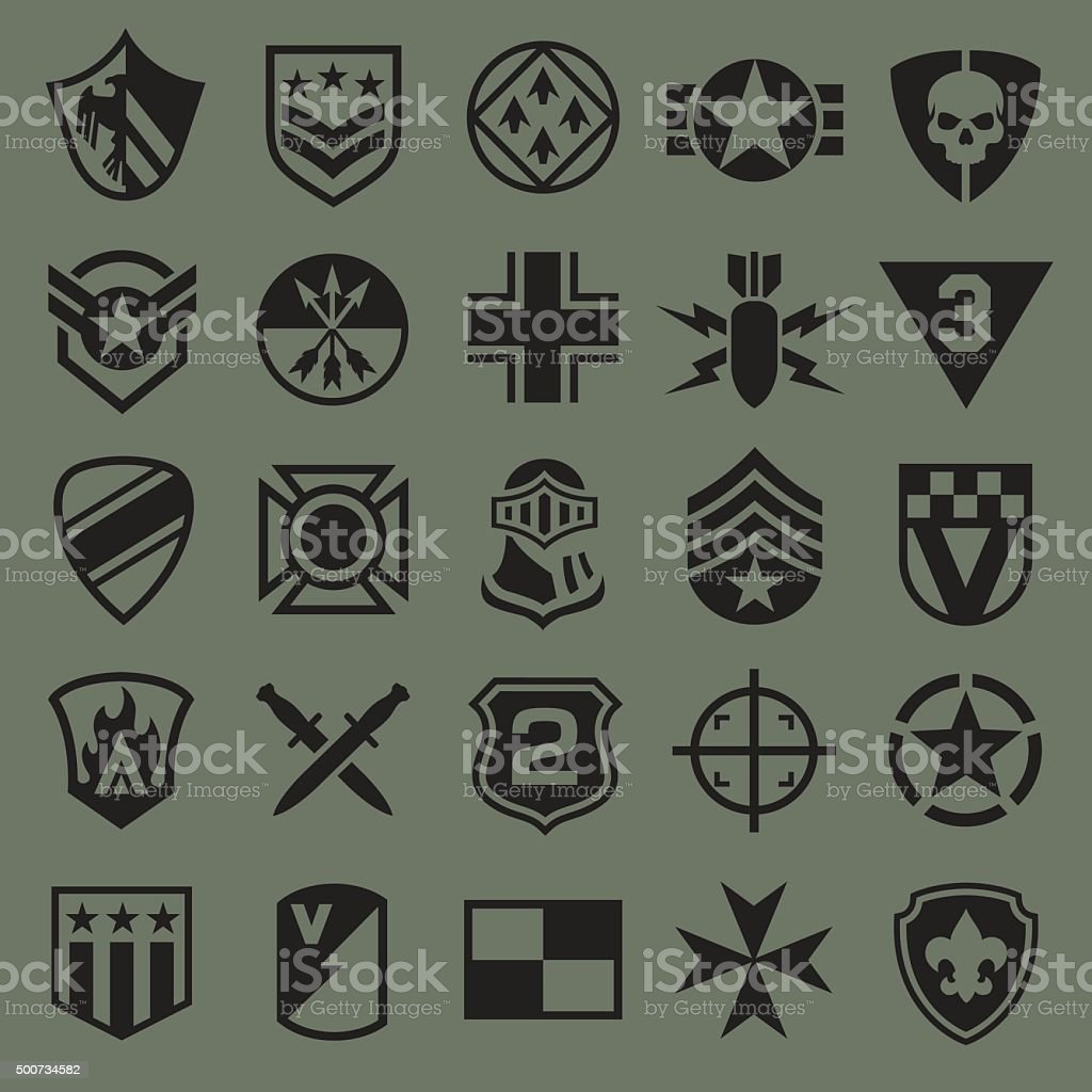 Military symbol icons set vector art illustration