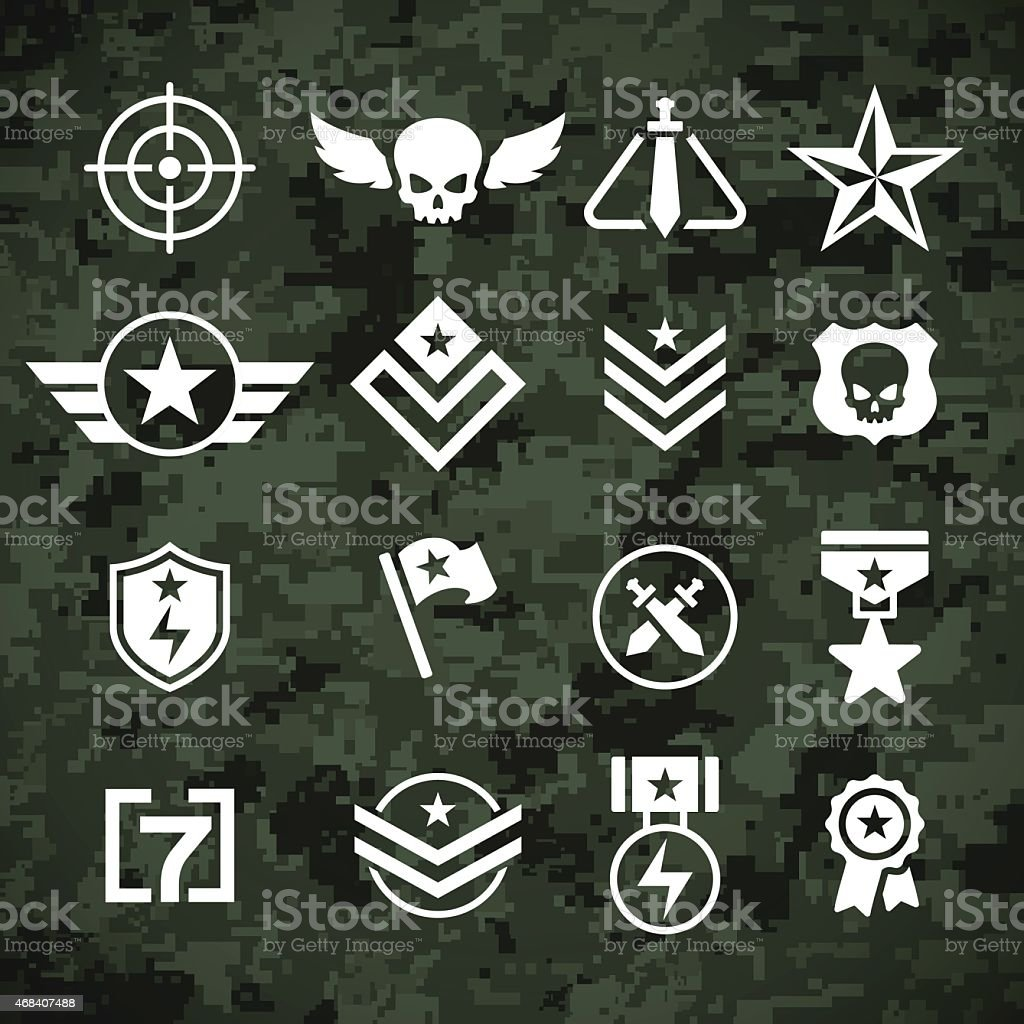 Military Symbols and Camoflage Pattern vector art illustration