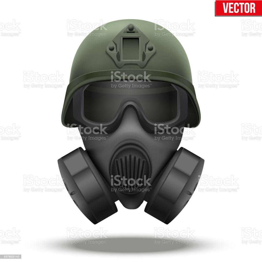Military tactical helmet with gas mask vector art illustration