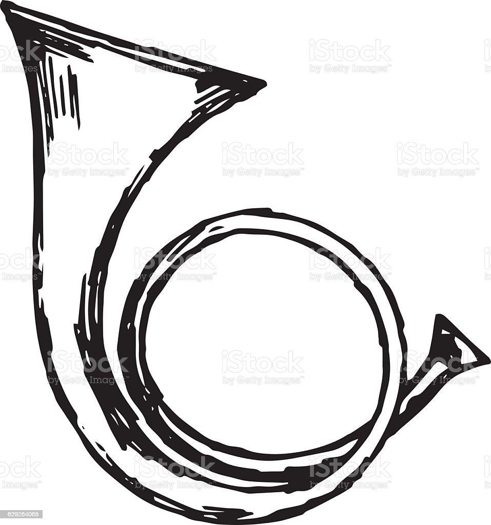 Military trumpet vector art illustration