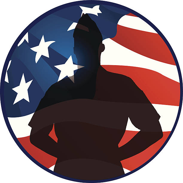 Silhouette Of A American Flag Soldier Clip Art, Vector Images