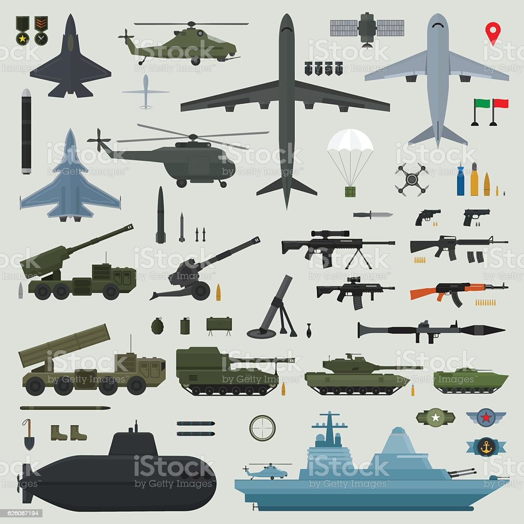 Military weapons of Army naval and air force vector art illustration