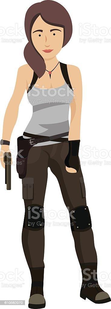 Military Woman With Gun vector art illustration