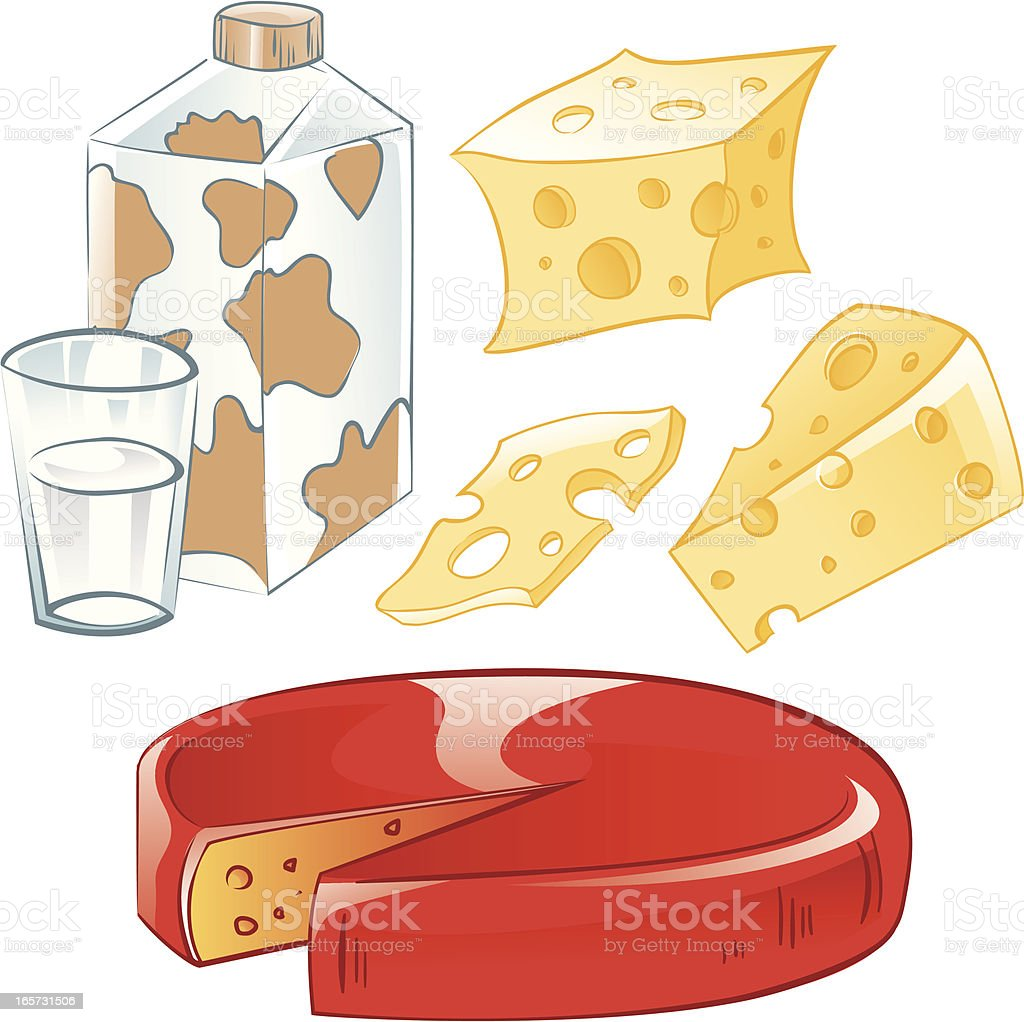 Milk and cheese vector art illustration