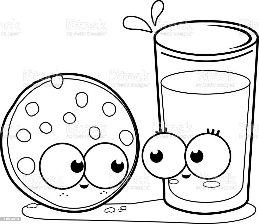 milk and cookie black and white coloring book page royalty free stock vector art