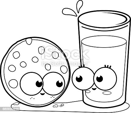 milk and cookie black and white coloring book page stock vector art 685690946 istock