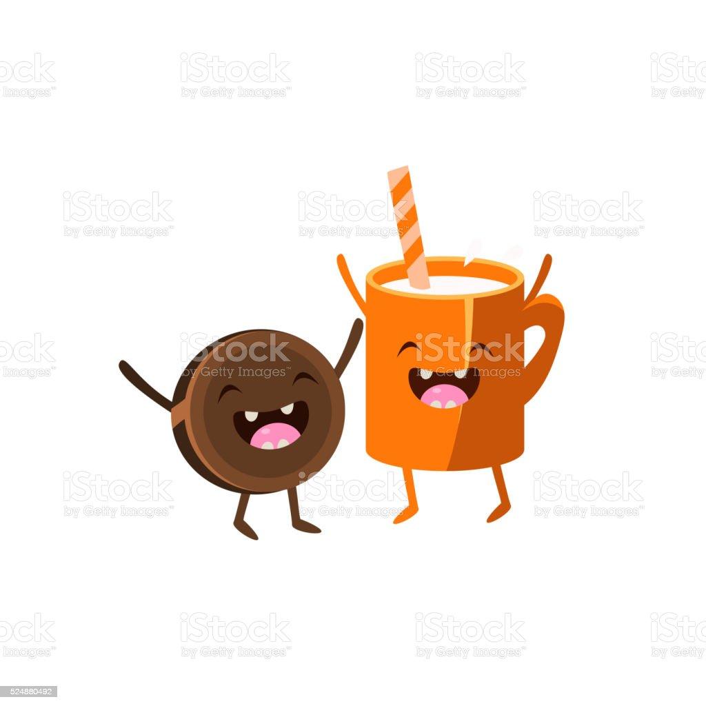 Milk And Cookie Cartoon Friends vector art illustration