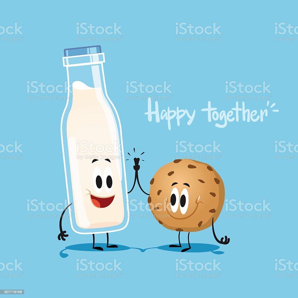 Milk and cookie vector art illustration