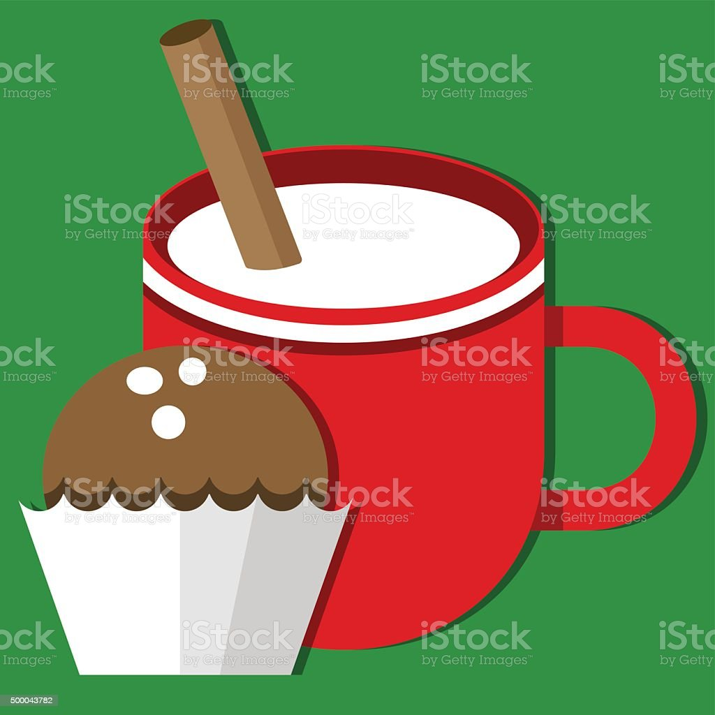 Milk and cookies for Santa Claus vector art illustration