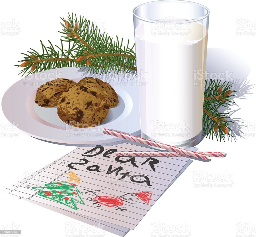 Milk and Cookies for Santa royalty-free stock vector art
