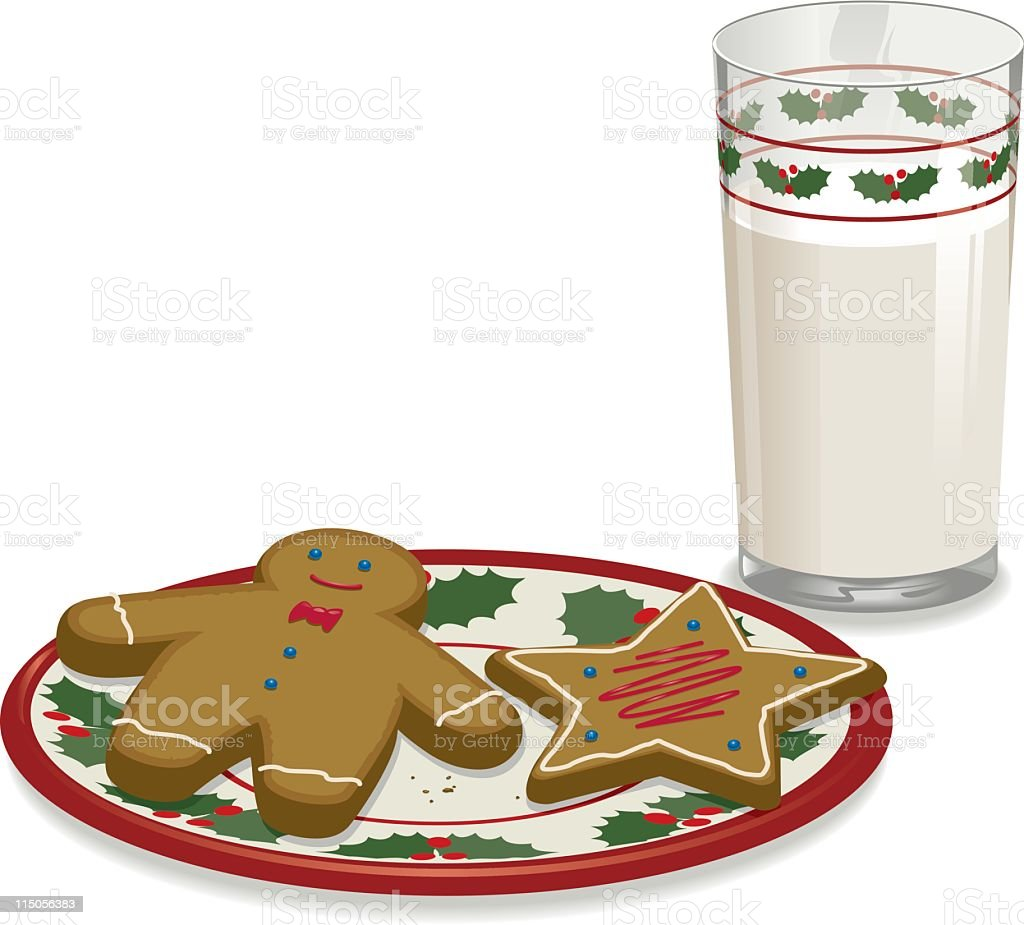 Milk and cookies left out overnight for Santa vector art illustration
