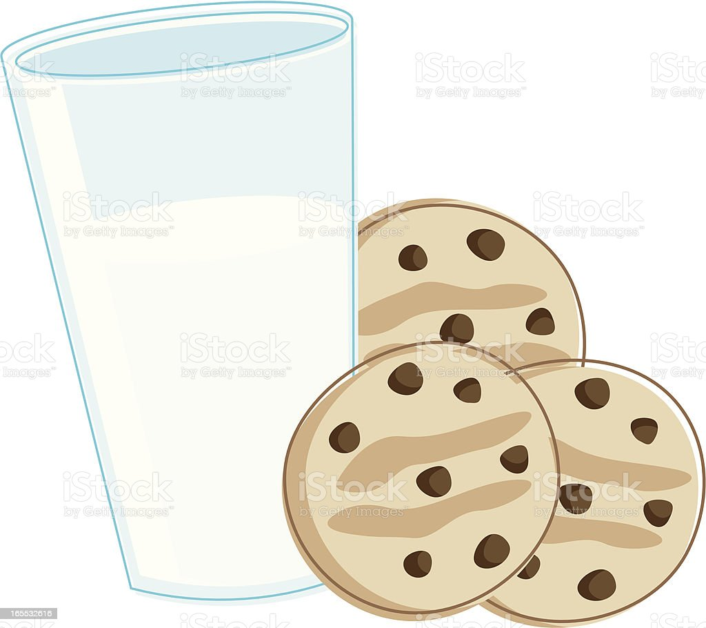 Milk and Cookies royalty-free stock vector art