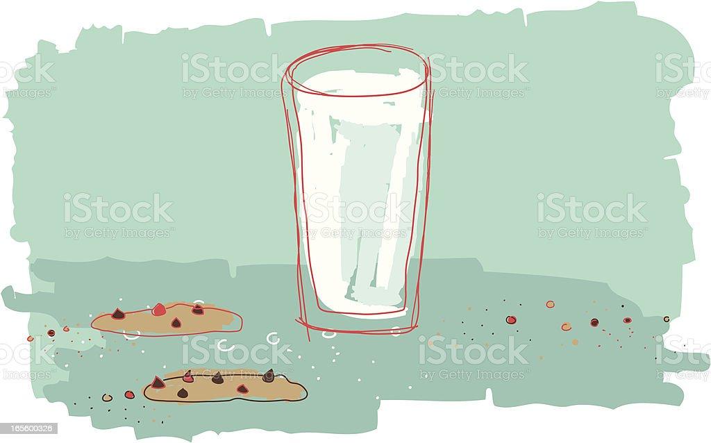 Milk and cookies vector art illustration