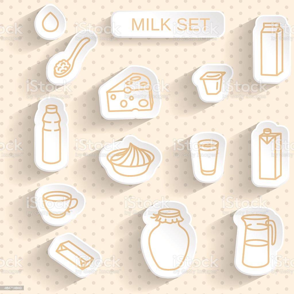 Milk and Dairy. Paper Sticker Set on Seamless Retro Background. vector art illustration