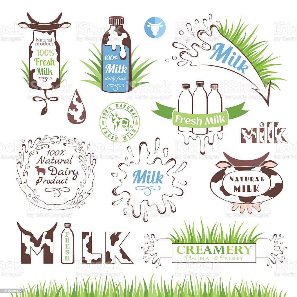 Milk and dairy products badges and labels vector art illustration