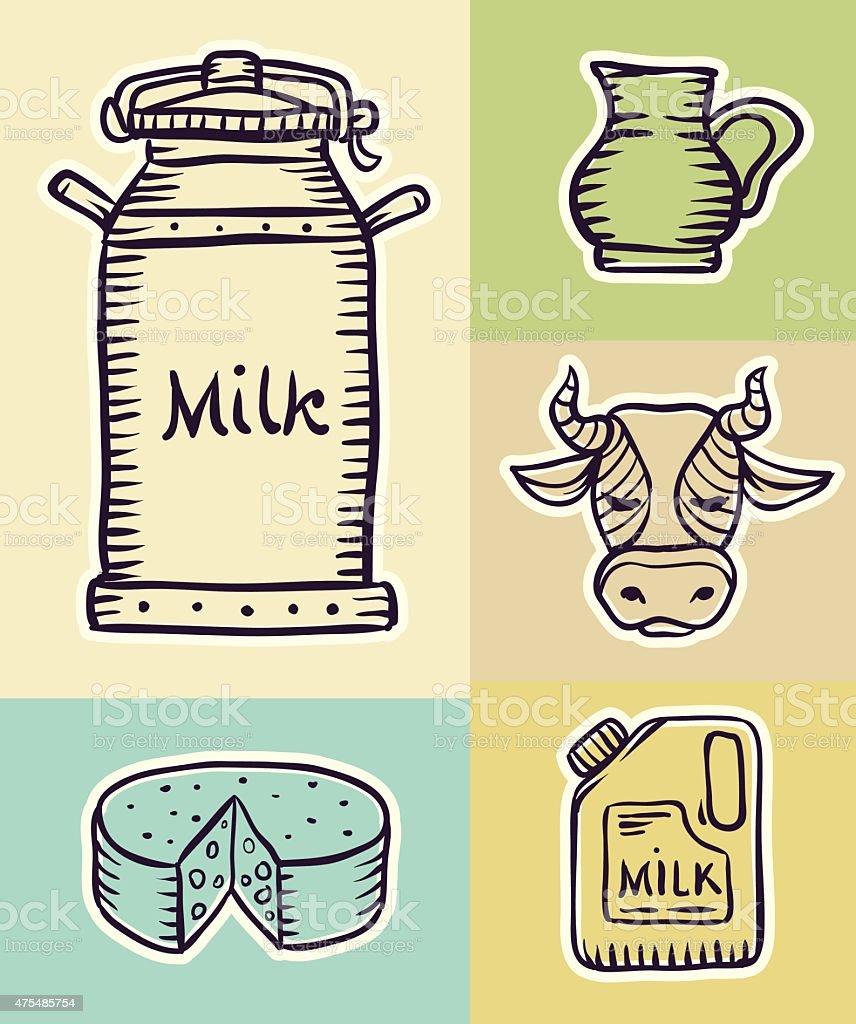 Mleko i produkty mleczne Ręcznie rysowane zestaw stockowa ilustracja wektorowa royalty-free