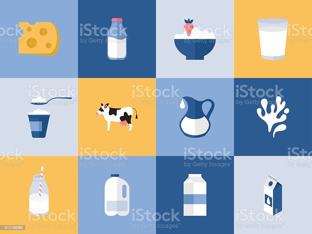 Milk and dairy products icons for graphic, web and logo vector art illustration