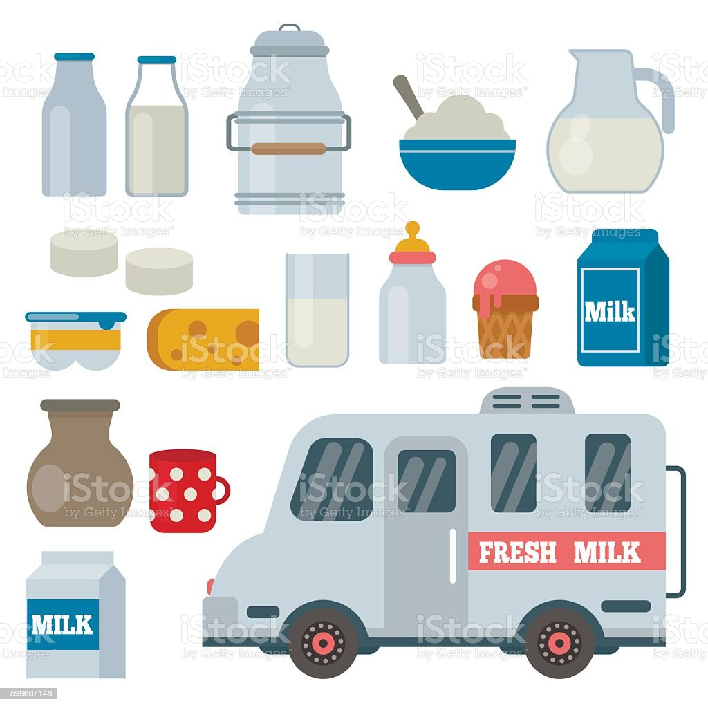 Milk and dairy products vector set in flat style. vector art illustration
