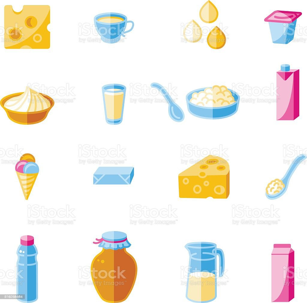 Milk and Dairy. Set of Color Icons. vector art illustration